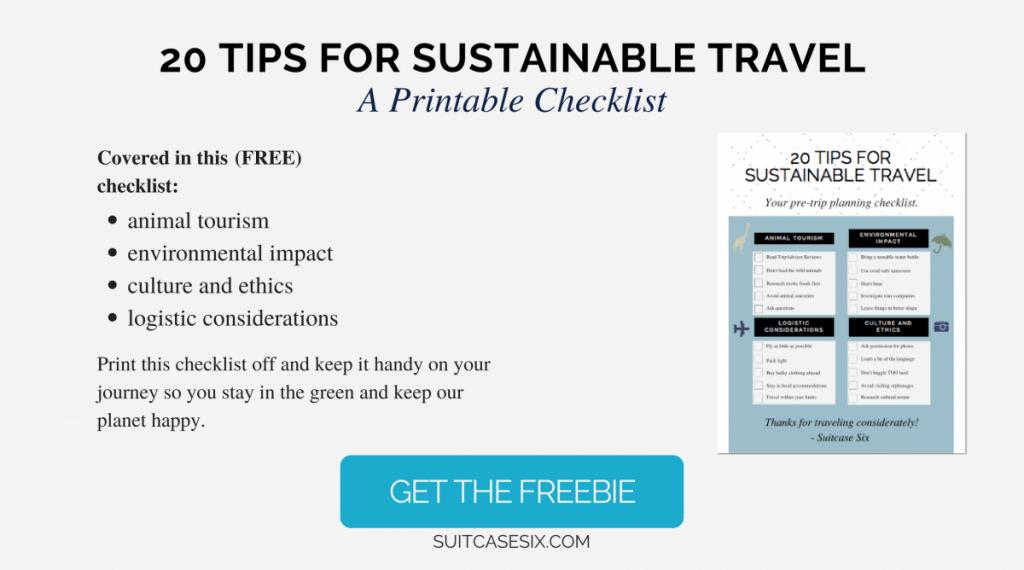 Sustainable Travel Freebie Checklist