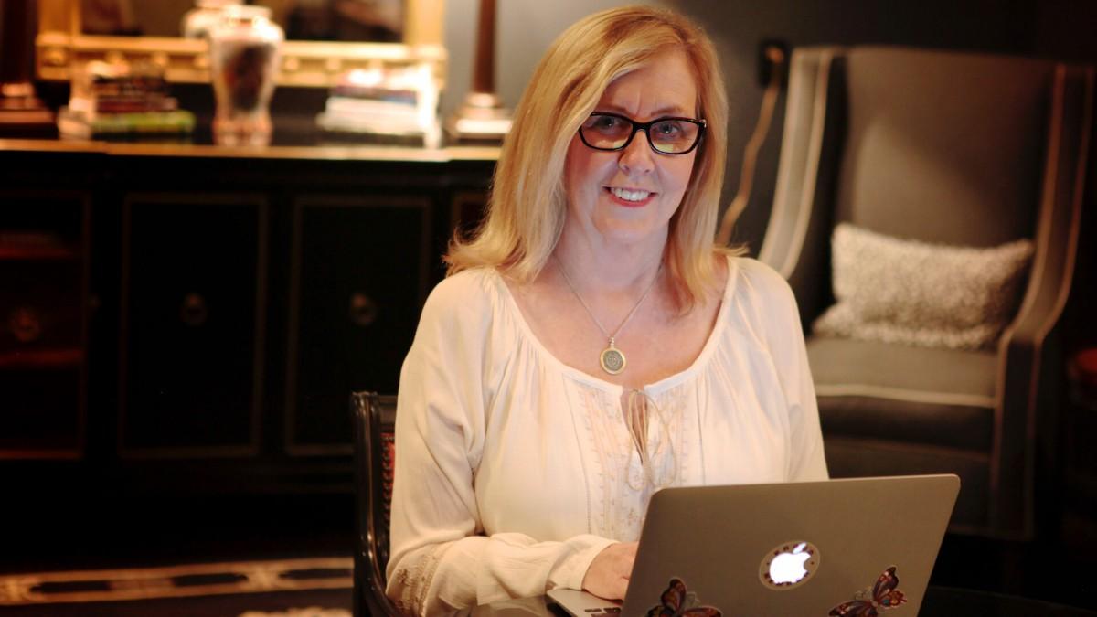 Hazel working at her desk
