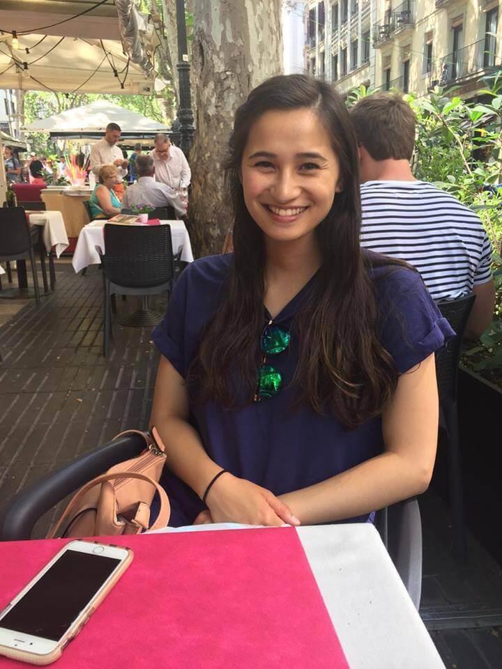 Maya eating at a restaurant