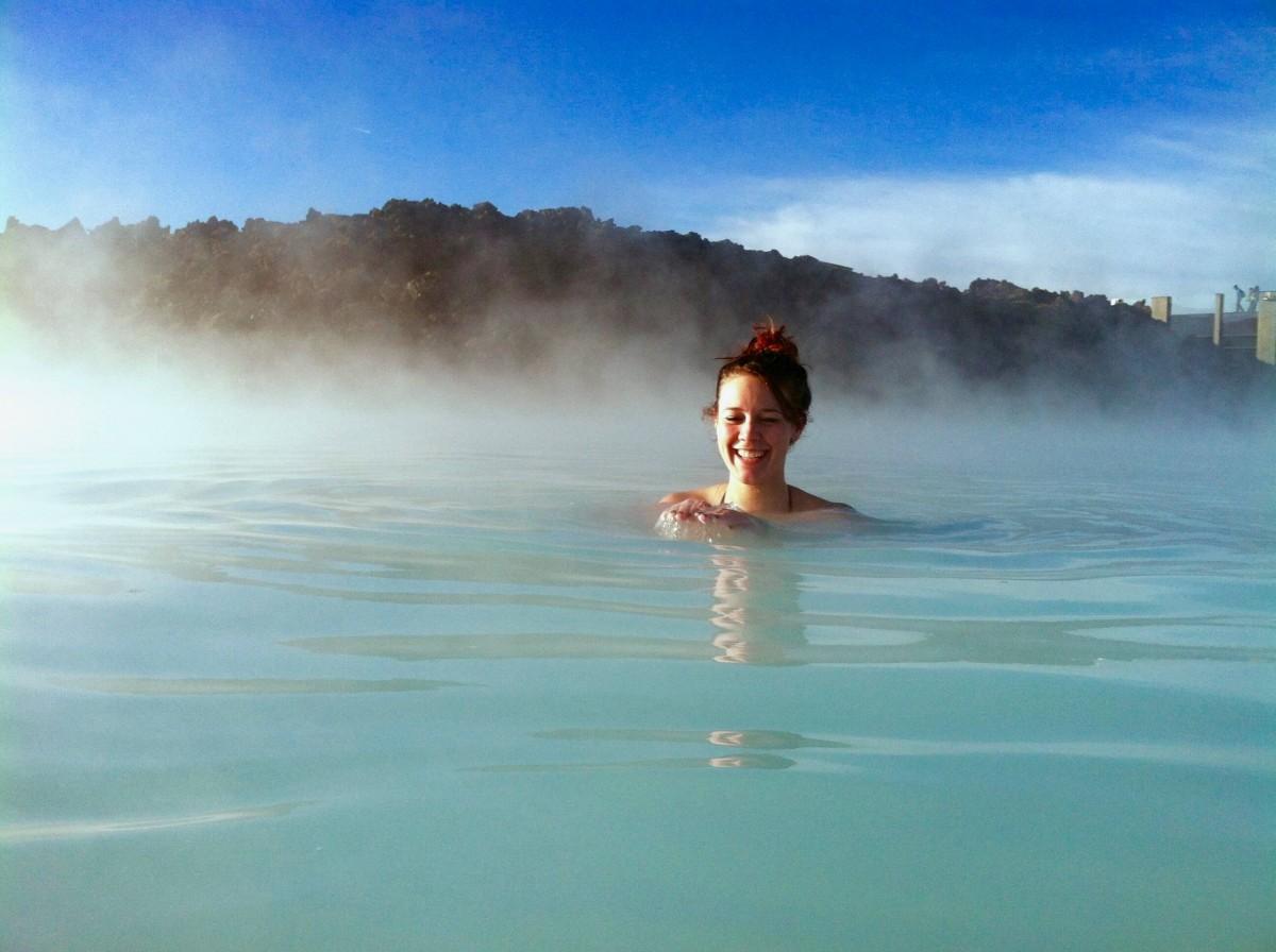 alyssa in the blue lagoon hot springs