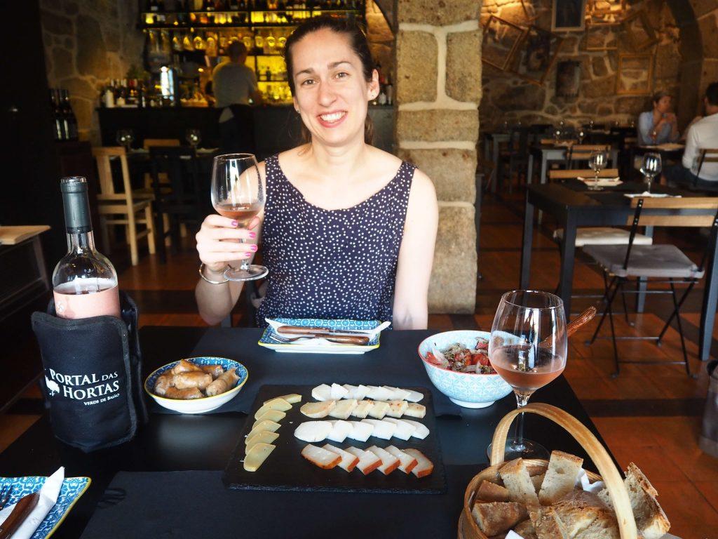 Sarah getting Tapas in Barcelona.