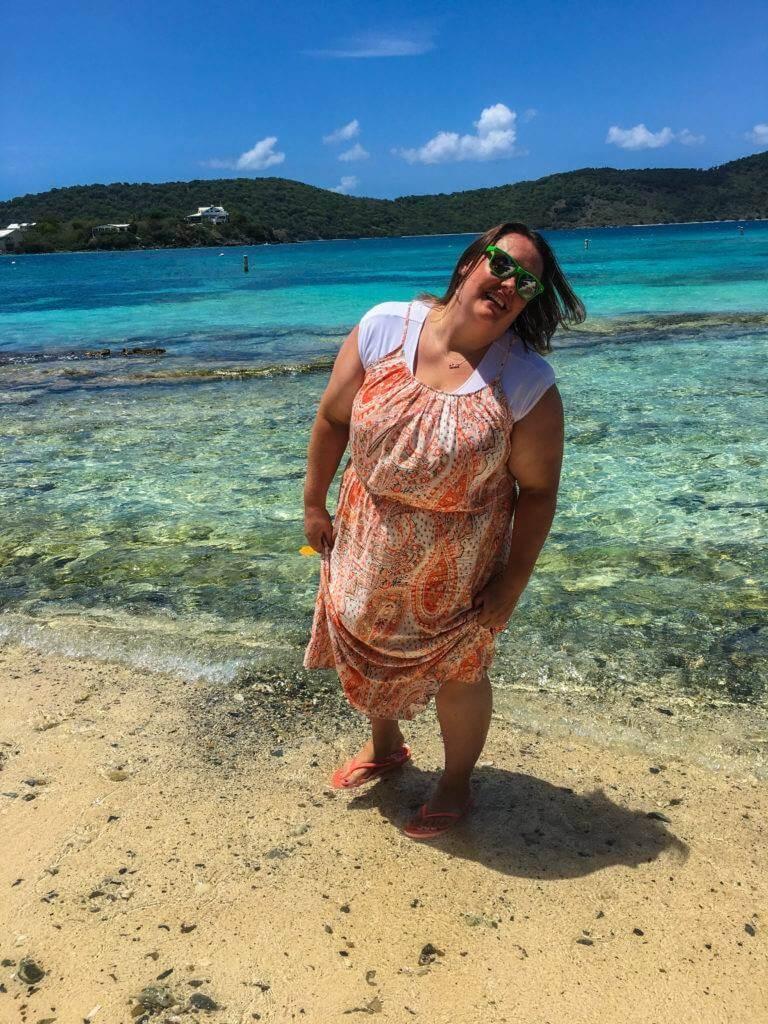 Rachelle posing for a photo on the beach