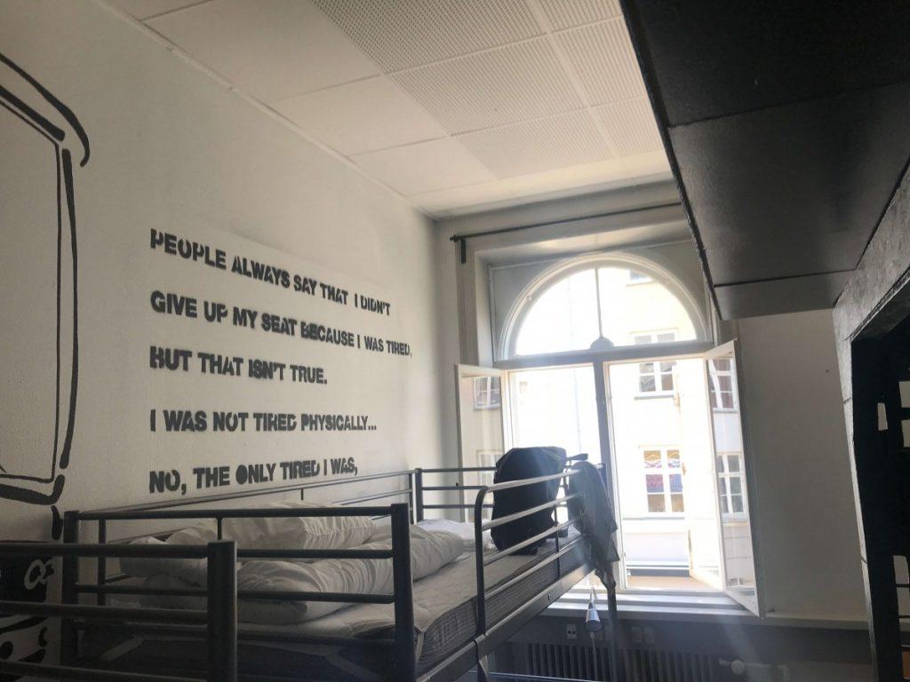 globalhagen hostel bunk beds under a rosa park quote