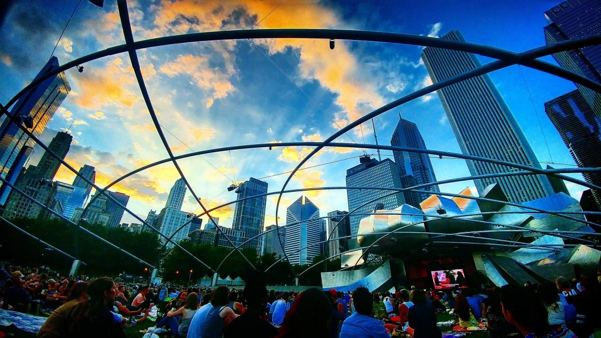 Views of Millennium Park in Chicago, Illinois, USA.